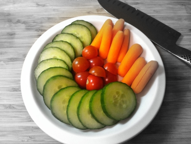Plate of raw veggies - edited