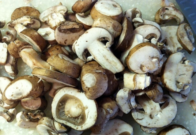 mushrooms on chopping board - edited
