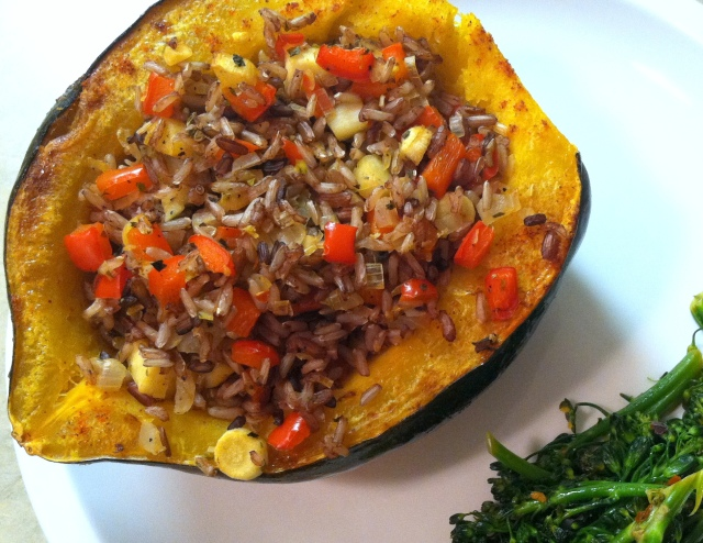 Filled Squash Half on plate with broccolini