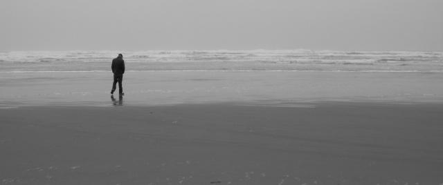 josh on beach black and white
